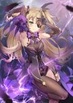 1girl bangs bare_shoulders black_eyepatch black_feathers blush bodystocking bow breasts brown_sleeves eyepatch fischl_(genshin_impact) garter_straps genshin_impact green_eyes hair_over_one_eye lightning long_hair looking_at_viewer medium_breasts purple_bow purple_neckwear single_leg_pantyhose single_thighhigh smile thigh-highs thighs two_side_up yoshimoto_(dear_life)