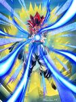 1boy blue_eyes character_name dragon_ball dragon_ball_gt energy_ball english_commentary floating glowing gogeta harutimu highres male_focus muscular open_hands redhead shaded_face solo super_saiyan super_saiyan_4 v-shaped_eyebrows