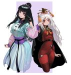 2girls :/ absurdres anger_vein bangs belt black_belt black_cloak black_gloves black_hair blue_dress border breasts bright_pupils cao_cao character_request cheek_pinching cloak commentary cropped_legs dress eyebrows_visible_through_hair eyelashes floral_print frilled_dress frills geminingen genderswap genderswap_(mtf) gloves gold_trim hair_bun hair_over_shoulder hat height_difference highres long_hair long_sleeves looking_at_viewer multiple_girls parted_lips pinching pink_sleeves purple_background red_eyes red_legwear romance_of_the_three_kingdoms sash single_glove sleeveless tassel white_border white_hair white_pupils wide_sleeves wrist_cuffs