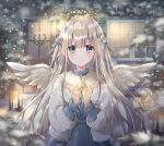 1girl angel angel_wings arms_up bangs blue_dress blue_eyes blurry_foreground candle christmas christmas_lights christmas_wreath door dress english_commentary expressionless eyebrows_visible_through_hair fur_jacket hair_ornament hair_ribbon halo high_collar highres hoshiibara_mato ivy lantern light_blush long_hair looking_at_viewer night original outdoors pine_tree ribbon shiny shiny_hair silver_hair snow solo standing star_(symbol) tree upper_body very_long_hair window wings winter