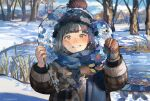 1girl bangs beanie black_hair black_headwear blue_scarf blush brown_eyes coat day grin hat heart holding ice leaf long_sleeves looking_at_viewer mole mole_under_eye original outdoors pom_pom_(clothes) pond sasumata_jirou scarf short_hair single_mitten slide smile snow solo swing tree twitter_username water winter winter_clothes