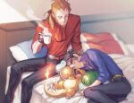 2boys augustine_sycamore belt black_gloves black_pants blue_shirt bulbasaur charmander closed_eyes closed_mouth commentary_request cup fingerless_gloves gen_1_pokemon gloves holding holding_cup indoors kusuribe lying lysandre_(pokemon) male_focus multiple_boys on_bed on_side orange_shirt pants pillow pokemon pokemon_(creature) pokemon_(game) pokemon_xy popped_collar shirt sleeping sleeves_rolled_up squirtle starter_pokemon_trio steam