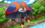 beetle blue_sky bug clouds cloudy_sky commentary_request creature day dutch_angle flying full_body gen_8_pokemon grass green_eyes hakuginnosora insect looking_at_viewer no_humans orbeetle pokemon pokemon_(creature) sky solo tree water