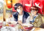 1boy 1girl black_hair blue_eyes bowl brown_eyes casual cup food grin hands_together hood hooded_jacket izumi_noa jacket kidou_keisatsu_patlabor lantern letterman_jacket looking_at_another looking_to_the_side noodles noren paper_lantern pot ramen redhead restaurant shinohara_asuma short_hair signature sitting smile texture traditional_media ususionorisio watercolor_(medium) winter_clothes