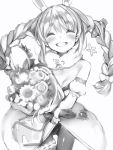 1girl :d bare_shoulders blush bouquet braid breasts carrot carrot_hair_ornament closed_eyes cowboy_shot detached_sleeves don-chan_(usada_pekora) facing_viewer flower food_themed_hair_ornament gloves greyscale grin hair_ornament highres holding holding_bouquet hololive juliet_sleeves leotard long_hair long_sleeves monochrome nanashi_(nlo) open_mouth pantyhose puffy_sleeves small_breasts smile solo standing thigh_gap twin_braids usada_pekora waistcoat