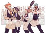4boys :d alternate_costume apron archie_(pokemon) arm_hair augustine_sycamore black_hair black_pants black_vest blue_bandana collared_shirt commentary_request cup facial_hair frying_pan glasses holding holding_frying_pan kusuribe lysandre_(pokemon) male_focus maxie_(pokemon) multiple_boys necktie one_eye_closed open_mouth orange_hair orange_neckwear pants pokemon pokemon_(game) pokemon_oras pokemon_xy purple_neckwear red_neckwear redhead saucer shirt smile teacup teeth tongue tray vest waist_apron