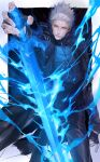 1boy black_coat blue_eyes chongning coat devil_may_cry devil_may_cry_5 fingerless_gloves fingernails gloves glowing glowing_sword glowing_weapon grey_hair hair_slicked_back highres male_focus parted_lips smile solo sword transparent vergil weapon