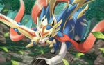 brown_eyes claws commentary_request creature dog fangs forest full_body gen_8_pokemon grass hakuginnosora leaf legendary_pokemon looking_at_viewer mouth_hold nature no_humans outdoors pokemon pokemon_(creature) sharp_teeth solo standing sunlight sword teeth tree weapon zacian zacian_(crowned)