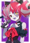 1girl :d \m/ bandaged_arm bandages bare_shoulders black_bow black_dress black_nails bow commentary double_bun dress fangs fingernails grey_hair hair_bow hand_up highres holding holding_microphone hololive hololive_indonesia kureiji_ollie long_fingernails looking_at_viewer microphone multicolored_hair nail_polish open_mouth pink_hair puffy_short_sleeves puffy_sleeves purple_background red_bow redhead sharp_fingernails short_sleeves smile solo stitches symbol_commentary torn_clothes torn_dress two-tone_background two-tone_hair uneg upper_teeth virtual_youtuber white_background
