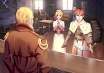 1girl 5boys acolyte_(ragnarok_online) arms_at_sides bangs barrel beard black_vest blonde_hair blue_eyes blue_pants blue_shirt blush brick_wall brown_gloves brown_hair brown_jacket brown_pants brown_shirt capelet chair clenched_hand commentary_request couch crossed_swords day desk eyebrows_visible_through_hair faceless faceless_male facial_hair facing_away full_body gauntlets gloves hair_slicked_back herman_von_efesiers ike_masato indoors jacket long_skirt long_sleeves looking_at_another medium_hair multiple_boys open_mouth own_hands_together painting_(object) pants ragnarok_online red_eyes redhead sheath sheathed shield shiny shiny_hair shirt short_hair sitting skirt sleeves_rolled_up standing sword swordsman_(ragnarok_online) tabard table talking teeth upper_body very_short_hair vest weapon white_capelet white_shirt white_skirt window wooden_floor