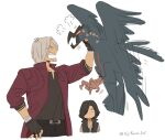 2boys anger_vein animal arm_tattoo arm_up asaya_minoru bare_shoulders bird black_coat black_gloves black_pants black_shirt coat dante_(devil_may_cry) devil_may_cry devil_may_cry_5 eyes_visible_through_hair fingerless_gloves gloves grey_hair griffon_(devil_may_cry_5) hair_over_one_eye holding holding_animal jacket long_sleeves male_focus multiple_boys open_clothes open_jacket open_mouth pants profile red_jacket shirt simple_background sleeveless_coat sweat tattoo twitter_username v-shaped_eyebrows v_(devil_may_cry) white_background