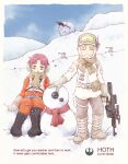 2girls ^_^ bangs bb-8 beige_gloves closed_eyes earmuffs energy_gun english_commentary eyebrows_visible_through_hair goggles goggles_on_headwear gun holding holding_gun holding_weapon hoth multiple_girls nosh parted_bangs pilot_suit purple_hair rebel_pilot red_scarf scarf short_hair sitting smile snow snowman star_wars star_wars:_the_empire_strikes_back star_wars:_the_force_awakens turret weapon