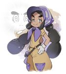 1girl black_hair blush bonnet closed_mouth commentary_request eyelashes gloves grey_eyes grey_gloves half-closed_eyes hands_on_hips hapu_(pokemon) island_kahuna jumpsuit kusuribe long_hair pokemon pokemon_(game) pokemon_sm purple_headwear short_sleeves signature smile thick_eyebrows twintails