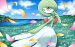 blue_sky brown_eyes closed_mouth clouds cloudy_sky commentary_request creature day feet_out_of_frame gardevoir gen_3_pokemon grass hakuginnosora looking_at_viewer looking_to_the_side no_humans outdoors petals pokemon pokemon_(creature) river sky smile solo standing water wind