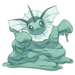 commentary creature frown full_body fusion gen_1_pokemon green_theme looking_at_viewer monochrome muk no_humans pinkgermy pokemon pokemon_(creature) solo standing transparent_background vaporeon