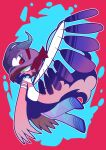 1girl akemi_homura akuma_homura argyle argyle_legwear chibi commentary elbow_gloves from_side gloves hairband highres looking_at_viewer mahou_shoujo_madoka_magica nura_(oaaaaaa) profile purple_hair red_eyes solo wings