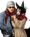 1boy 1girl :d animal_ears bag black_hair black_nails black_sclera black_shirt closed_mouth coat couple doitsuken facial_hair fingernails food_request fox_ears fox_tail grey_coat grey_jacket grey_pants hair_bun hands_in_pockets holding holding_bag jacket kitsune_spirit_(doitsuken) long_sleeves multiple_tails mustache nail_polish open_mouth original pants paper_bag red_scarf scarf sharp_fingernails sharp_teeth shirt simple_background smile sunglasses tail teeth white_background white_hair yellow_eyes