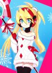 1girl bangs blonde_hair blue_eyes christmas christmas_sweater ciel_(rockman) earmuffs eyebrows_visible_through_hair flat_chest gloves hair_between_eyes headgear helmet high_ponytail highres linkle149 long_hair looking_at_viewer polearm ponytail rockman rockman_x_dive rockman_zero smile solo spear sweater thigh-highs weapon white_sweater