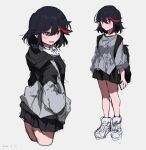 1girl 2020 :3 absurdres backpack bag bangs black_hair black_skirt blue_eyes blush commentary_request cowboy_shot dated ears eyebrows_visible_through_hair grey_background grey_footwear grey_jacket grey_sweater hair_between_eyes half-closed_eyes highres holding holding_phone jacket kill_la_kill long_sleeves matoi_ryuuko multicolored_hair multiple_views phone pleated_skirt redhead shiny shiny_hair shoes simple_background skirt smile sneakers solo streaked_hair sweatdrop sweater takatisakana tsurime