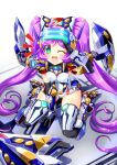 1girl bangs black_gloves blush breasts cosplay covered_navel covered_nipples crossover elbow_gloves eyebrows_visible_through_hair from_above gloves green_eyes highres long_hair looking_up manaka_lala mecha_musume medium_breasts one_eye_closed open_mouth pretty_(series) pripara purple_hair salute shield sitting solo temjin temjin_(cosplay) thigh-highs very_long_hair virtual_on visor wariza yakisoba_(kaz2113)