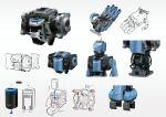 battery character_sheet grey_background highres humanoid_robot kusami_toka_naku_au machinery multiple_views no_humans open_hand original palms piston robot science_fiction wire
