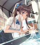 1girl absurdres blue_bow blue_eyes blue_neckwear blue_skirt blurry blurry_background blush bow bowtie breasts brown_hair closed_mouth collared_shirt depth_of_field dress_shirt duplicate faucet from_side glint hair_bow harui_(huruyi_817) high_ponytail highres indoors leaning_forward long_hair looking_at_viewer looking_to_the_side medium_breasts original plaid plaid_skirt pleated_skirt ponytail school_uniform shirt short_sleeves skirt smile solo uniform water