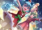 2girls :d armpits arms_up bloomers blue_bow blue_eyes blue_hair bow bowtie brown_gloves christmas cirno daiyousei eyebrows_visible_through_hair fairy_wings gloves green_eyes green_hair green_neckwear hair_bow hat highres ice ice_wings long_sleeves looking_at_viewer mini_hat multiple_girls open_mouth red_gloves red_headwear sakumichi santa_costume santa_hat short_hair side_ponytail sleeveless smile thighs touhou underwear upper_teeth wings