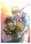 2boys aqua_eyes aviator_cap battle_tendency blonde_hair blue_gloves blue_jacket brown_hair brown_jacket caesar_anthonio_zeppeli clenched_hands clenched_teeth collared_jacket commentary_request crying denim facial_mark feather_hair_ornament fingerless_gloves gloves gradient gradient_background green_eyes green_gloves hair_ornament high_collar highres holding jacket jeans jojo_no_kimyou_na_bouken joseph_joestar_(young) lapel light_smile looking_at_another looking_down male_focus multicolored multicolored_clothes multicolored_scarf multiple_boys no_headband pants pink_scarf sashiyu scarf short_hair signature sparkle striped striped_scarf tears teeth triangle_print white_pants