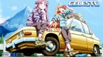 2girls ahoge arm_up artist_name badeline black_pants blue_sky blush boots brown_footwear brown_hair car celeste_(video_game) coat copyright_name dated day del ground_vehicle highres long_hair looking_away madeline_(celeste) motor_vehicle mountain multiple_girls open_mouth outdoors pants purple_hair red_eyes red_sclera sitting sky smile standing twitter_username very_long_hair wallpaper