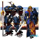 1girl 1other armor armored_boots blue_eyes boots commentary dark_skin dark_skinned_female english_commentary fantasy faulds full_armor hair_over_shoulder helmet highres holding holding_sword holding_weapon knight long_braid long_hair long_skirt mecha mechanization open_mouth original pauldrons planted_sword planted_weapon red_skirt redhead rhinoceros_beetle shield shoulder_armor side_slit signature skirt sword tekkotsu_(tekkotz) visor weapon