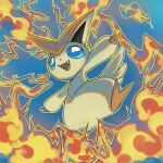blue_background blue_eyes commentary creature english_commentary fangs full_body gen_5_pokemon looking_at_viewer mythical_pokemon no_humans open_arms pinkgermy pokemon pokemon_(creature) signature simple_background solo victini