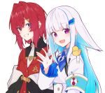 2girls :d ange_katrina animal_on_shoulder armband bangs bird bird_on_shoulder black_coat blue_eyes blue_hair blue_neckwear blunt_bangs blush breasts coat collared_shirt colored_inner_hair commentary eyebrows_visible_through_hair flat_chest grin hair_between_eyes hair_flaps hair_ornament hairclip highres jacket light_blue_hair lize_helesta long_hair looking_at_viewer monocle multicolored_hair multiple_girls nijisanji off-shoulder_coat open_mouth palms red_jacket redhead sebastian_piyodore shirt short_hair silver_hair simple_background small_breasts smile streaked_hair talunilu_uu3 turtleneck two-tone_hair uniform upper_body violet_eyes virtual_youtuber waving white_background white_jacket white_shirt