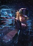 +infinitytlxy 1boy akudama_drive artificial_eye artist_name black_headwear blonde_hair dated hacker_(akudama_drive) hat highres holographic_interface jacket looking_at_viewer male_focus mechanical_eye outstretched_arms simple_background sketch solo upper_body