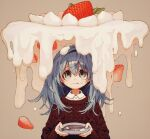 1girl closed_mouth collared_shirt cream food food_on_face fork fruit green_eyes grey_background grey_hair hairband highres holding holding_plate ka_(marukogedago) long_hair long_sleeves original plate red_sweater shirt simple_background solo strawberry sweater upper_body white_shirt