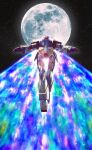 absurdres flying from_below gundam highres mecha moon moonlight_butterfly no_humans science_fiction sky solo space star_(sky) starry_sky tom_liu turn_a_gundam turn_a_gundam_(mobile_suit)
