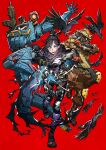 apex_legends assault_rifle bird black_hair blue_eyes bodysuit bright_pupils cape character_request crow finger_on_trigger gun hair_bun handgun hat highres holding holding_gun holding_weapon looking_at_viewer mika_pikazo open_mouth pistol red_background rifle robot simple_background standing standing_on_one_leg torn_cape torn_clothes weapon white_pupils