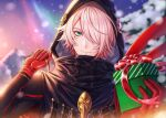 1boy black_coat box coat colored_skin eyeshadow fate/grand_order fate_(series) gift gift_box gloves green_eyes hair_over_one_eye highres holding holding_gift hood hood_up incoming_gift karna_(fate) karna_(santa)_(fate) looking_at_viewer makeup male_focus red_gloves short_hair smile solo tsurime ubi_(ekdus6080) upper_body white_skin