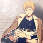2boys against_wall bangs blonde_hair blue_eyes blue_hair blush bracelet brick_wall brown_jacket buttons cardigan casual closed_mouth commentary_request crossed_arms earrings frown grey_cardigan hair_between_eyes jacket jewelry kise_ryouta kuroko_no_basuke kuroko_tetsuya lens_flare long_sleeves looking_at_viewer male_focus mashima_shima multiple_boys necklace open_clothes open_jacket short_hair smile twitter_username two-tone_shirt under_clothes upper_body yellow_eyes