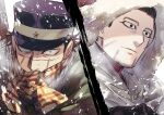 2boys beard black_eyes black_gloves black_hair black_headwear closed_mouth constricted_pupils covered_mouth facial_hair gloves golden_kamuy hair_slicked_back hat highres hood hood_up looking_at_viewer looking_away male_focus military_hat multiple_boys ogata_hyakunosuke oziozi_kamuy profile scar scar_on_face scarf short_hair smile snowing split_screen sugimoto_saichi winter_clothes yellow_eyes yellow_scarf