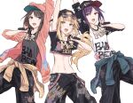 3girls :d animal_hood arm_up backwards_hat bang_dream! bangs baseball_cap bear_hood black_hair black_pants blonde_hair blunt_bangs chain chain_necklace clothes_around_waist commentary_request cowboy_shot cropped_shirt eyewear_on_head grey_eyes hat hello_happy_world! highres hip_hop hood hood_up hoodie jacket jacket_around_waist long_hair long_sleeves looking_up medium_hair microphone midriff multiple_girls navel okusawa_misaki open_mouth paint_splatter pants purple_hair red_eyes seta_kaoru shirt simple_background skirt smile standing stomach sukeilll sunglasses suspender_skirt suspenders suspenders_hanging swept_bangs t-shirt tsurumaki_kokoro white_background yellow_eyes
