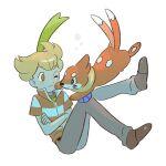 1boy bangs barry_(pokemon) blonde_hair blush brown_footwear buizel closed_mouth crossed_arms eyebrows_visible_through_hair gen_4_pokemon green_scarf grey_pants male_focus nata_(mmgt_nn) one_eye_closed orange_eyes pants pokemon pokemon_(creature) pokemon_(game) pokemon_dppt scarf shirt shoes short_hair short_sleeves white_background