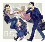 1girl 3boys adjusting_neckwear asirpa bag belt black_belt black_eyes black_hair black_legwear blue_jacket blue_pants blue_skirt blue_suit blue_vest bread brown_footwear buzz_cut collared_shirt contemporary dress_shirt drinking earrings facial_hair flying_sweatdrops food formal full_body goatee golden_kamuy grey_hair hair_slicked_back hairband highres holding holding_bag holding_clothes holding_jacket hoop_earrings jacket jewelry juice long_hair long_skirt long_sleeves looking_away mouth_hold multiple_boys necktie ogata_hyakunosuke open_mouth over_shoulder oziozi_kamuy pants pantyhose pink_shirt pleated_skirt profile pulling red_footwear running scar scar_on_cheek scar_on_face school_uniform serafuku shiraishi_yoshitake shirt shoes short_hair sideburns skirt sleeping sleeves_rolled_up sneakers sugimoto_saichi suit teeth v-shaped_eyebrows very_short_hair vest walking white_shirt yellow_neckwear