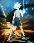 2boys absurdres bare_arms bare_shoulders black_hair blue_eyes blue_shorts boots brown_eyes child energy expressionless fighting_stance floating_hair full_body glowing glowing_hair gon_freecss green_footwear green_shorts highres huge_filesize hunter_x_hunter k.g_(matsumoto_zo) killua_zoldyck knee_boots long_hair male_focus messy_hair midriff_peek multiple_boys serious short_hair shorts silver_hair skinny spiky_hair spoilers spread_legs tank_top toned toned_male very_long_hair white_hair white_tank_top