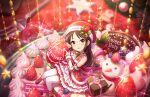 blush brown_eyes brown_hair christmas dress idolmaster_cinderella_girls_starlight_stage long_hair tachibana_arisu