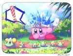 ! 1boy =_= alien artist_name blue_eyes blue_hair bush covering_mouth electricity flower food hand_over_own_mouth holding holding_food kirby kirby_(series) kyarara_renan looking_down no_humans popsicle slime
