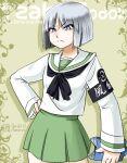 angry aoneco blue_eyes cosplay crossdressinging girls_und_panzer gundam gundam_seed ooarai_school_uniform school_uniform short_hair sono_midoriko yzak_joule