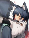 1boy 1girl absurdres animal_ears arknights black_hair blush commentary_request doctor_(arknights) eyebrows_visible_through_hair food fur_trim heart hetero highres long_hair long_sleeves looking_at_another mouth_hold multicolored_hair pocky redhead simple_background tab_head texas_(arknights) two-tone_hair white_background yellow_eyes