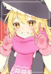 1girl artist_request black_vest blonde_hair blush double_v eyebrows_visible_through_hair frilled_hat frills gloves happy hat hidden_star_in_four_seasons highres kirisame_marisa long_hair long_sleeves pink_gloves pink_scarf red_background scarf shirt simple_background teeth touhou upper_body v vest white_shirt witch_hat yellow_eyes