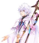 1boy bangs beckoning bishounen cape fate/grand_order fate_(series) hair_between_eyes highres holding holding_staff light_smile long_hair long_sleeves looking_at_viewer male_focus merlin_(fate) okuno_naru_(exoprsa) robe simple_background solo staff upper_body very_long_hair violet_eyes white_background white_cape white_hair