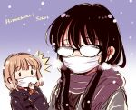 2girls ^^^ artist_name bangs black-framed_eyewear black_hair breath brown_coat brown_scarf character_name coat commentary_request copyright_name eyebrows_visible_through_hair facing_viewer fogged_glasses glasses gradient gradient_background grey_coat hair_between_eyes hand_to_own_mouth hand_up himawari-san himawari-san_(character) hood hood_down hooded_coat kazamatsuri_matsuri light_brown_hair long_hair looking_at_another mask mouth_mask multiple_girls outdoors purple_background scarf short_hair snowing sugano_manami surgical_mask upper_body winter_clothes